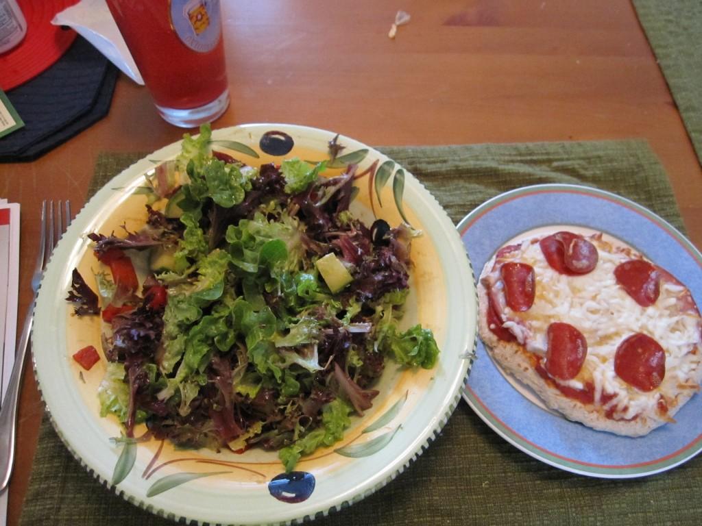 Low Fat Pita Pizza and Salad