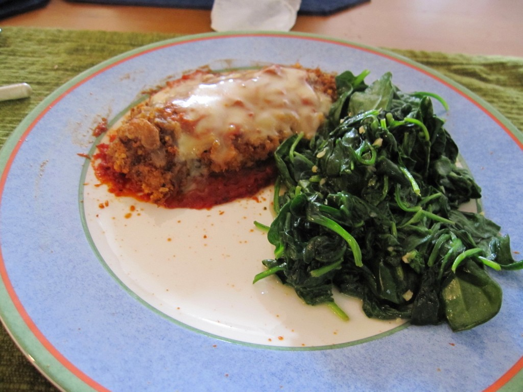 Light Baked Chicken Parmesan with Sautéed Spinach