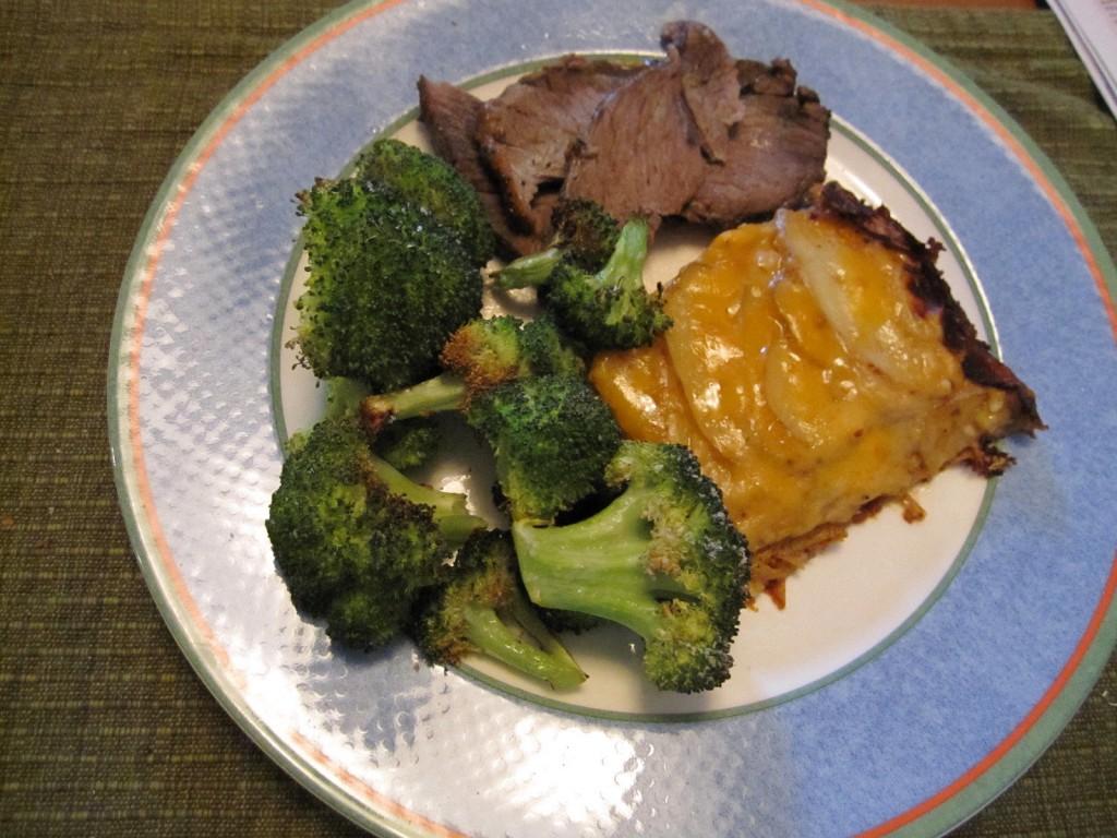 Leftover Roast Lamb, Low Fat Au Gratin Potatoes and Roast Broccoli